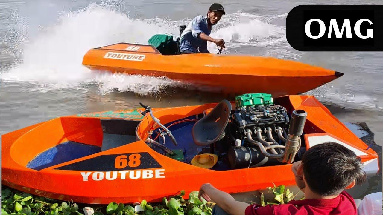 Động Cơ Z1000 Lắp Chạy Thuyền Chế - Kawasaki Moto Z1000 installs into the boat