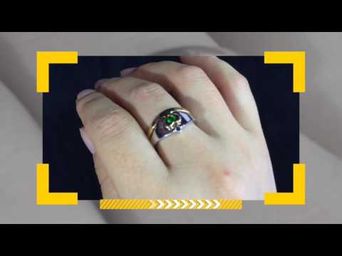 Green Emerald Claddagh Engagement Ring