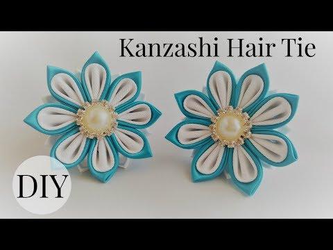 DIY Kanzashi Hair Tie/ Ponytail Holder/ Kanzashi flower tutorial