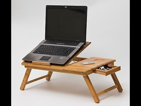 Wooden Bamboo Laptop Table For Bed With Big Cooling Fan The Perfect Gift