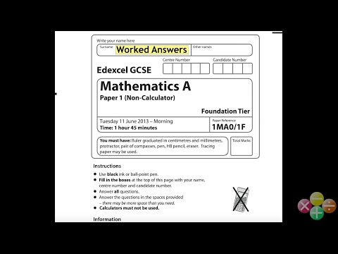 GCSE Maths Edexcel Foundation Non-Calculator June 2013 (worked answers)