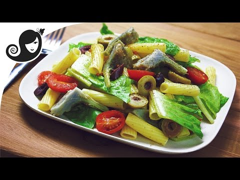 Easy Pasta Salad Recipe with Artichoke Hearts + How to Cook Artichoke (vegan/vegetarian recipe)