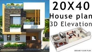 15X35 House plan design with 3d elevation by nikshail