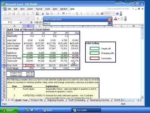MS Excel 2003 Basic (Optimizing Data with Solver) Lesson -21