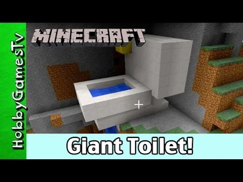 Minecraft Giant Toilet Steven Gets Flushed Down the Water Fall.