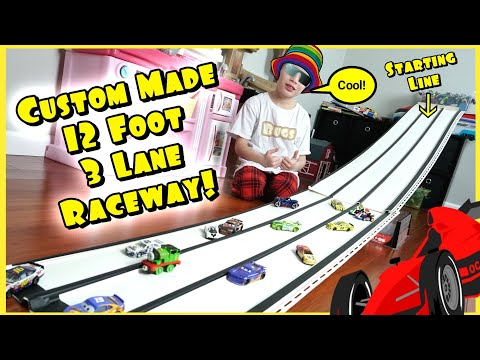 How to Make a Hot Wheels 3 Lane Downhill Racetrack - Good for Disney Cars 3 Diecast! DIY Kids Toy
