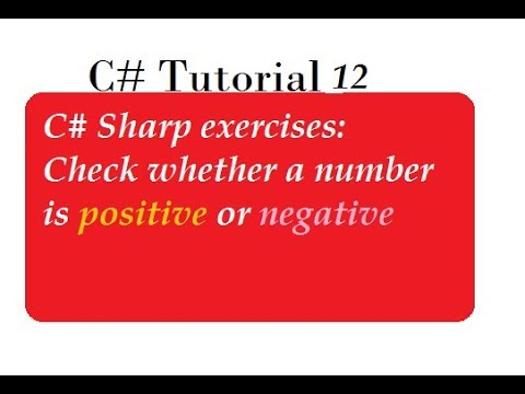 How To Check Number is Positive Or Negative in C#