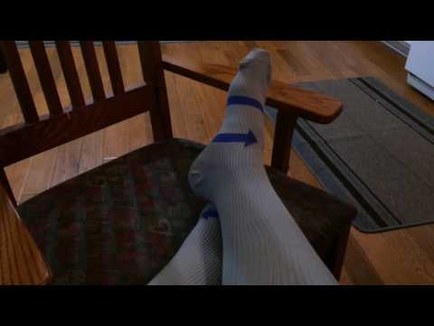 Compression socks that work great to relieve ankle swelling and achy legs!