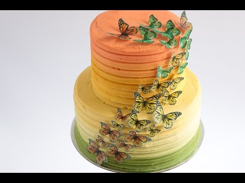 Caramel Ombre Cake with Edible Wafer Paper Butterflies Tutorial- Rosie's Dessert Spot