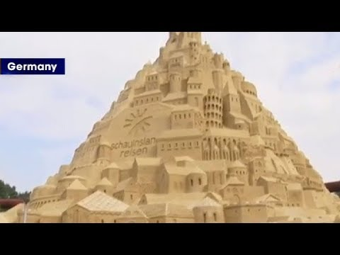 Watch: World's tallest sand castle built in Germany