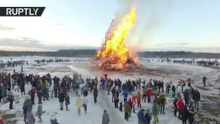 Drone captures massive sculpture burning at Maslenitsa party