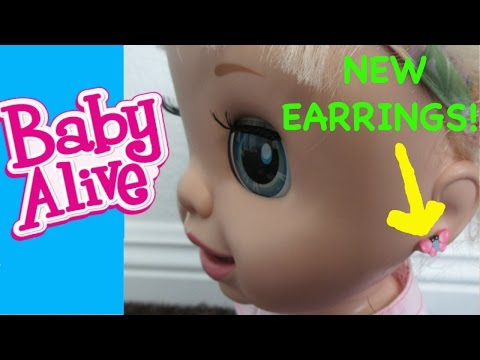 BABY ALIVE New Earrings For Baby Alive + DIY Piercing Baby Alive Ears!