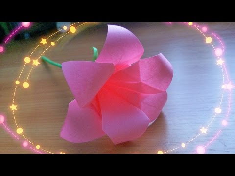 DIY Easy Crafts. How to Make Cute 6 Petals Origami Lily, Paper Rose Calyx. Handmade Flowers