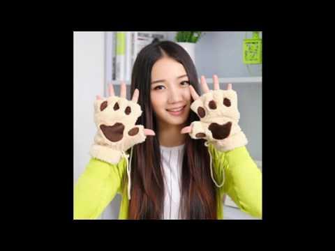 Cute Cat Claw Bear Paw Style Winter Plush Fingerless Gloves Mitten
