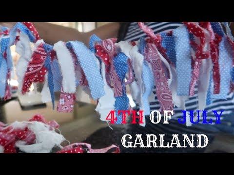 DIY 4TH OF JULY FABRIC GARLAND TUTORIAL / HOME DECOR