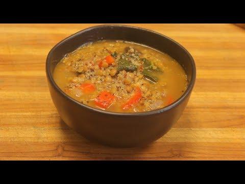 Lentil Soup Recipe - vegan soup - vegetable soup with lentils -  how to cook lentils - healthy soup