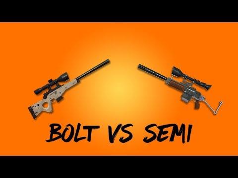 BOLT-ACTION VS SEMI-AUTO SNIPER RIFLE (FORTNITE BATTLE ROYALE)