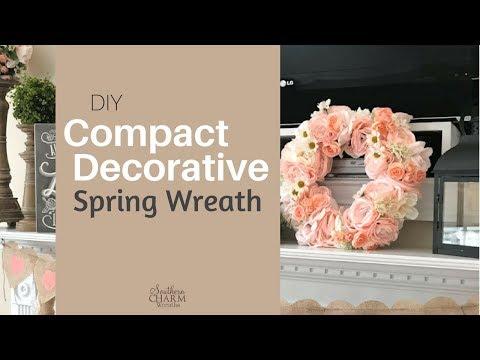 DIY Compact Decorative Spring Wreath Idea | How to Make a Spring Wreath Tutorial