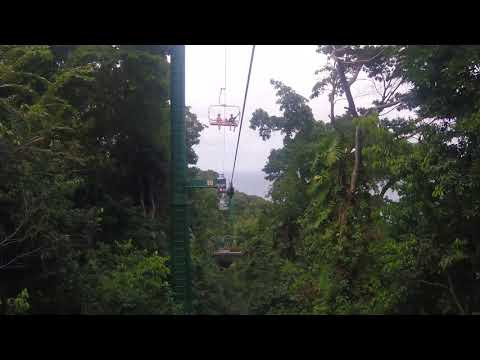 Riding the Sky Explorer Chairlift down Mystic Mountain in Ocho Rios, Jamaica