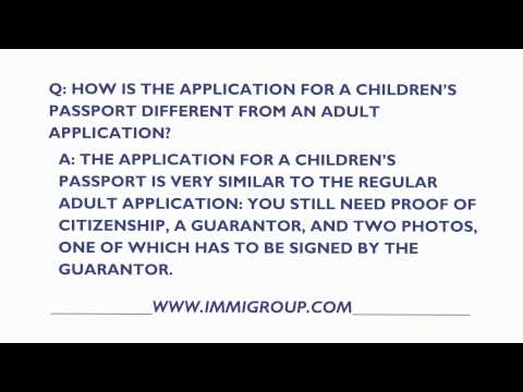 How Is The Application For A Canadian Children's Passport Different From An Adult Application?