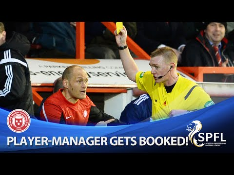 Hamilton player / manager shown yellow card while on the bench