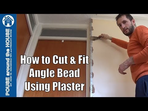 How to fix drywall angle bead using plaster. Fit plaster corner bead using plaster.
