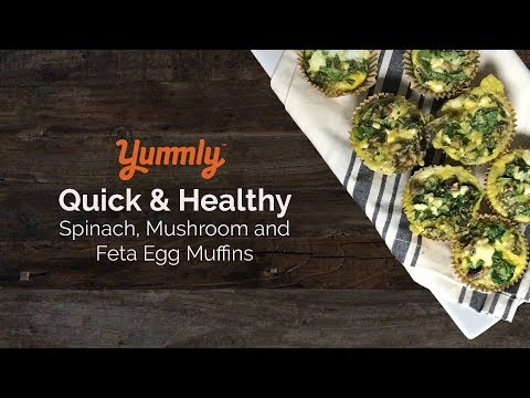 Mushroom, Spinach, and Feta egg muffins
