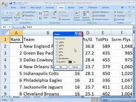 Use zoom in Excel