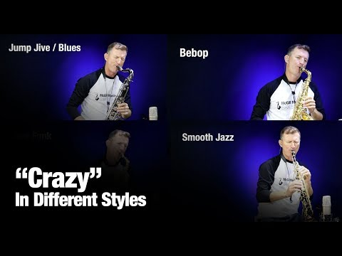 Crazy   on saxophone in different styles by Sax School