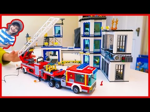 Lego City Police Station and Fire Truck Time Lapse Build