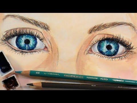 Eyes in Watercolor/Colored Pencil // Sketchbook Sunday