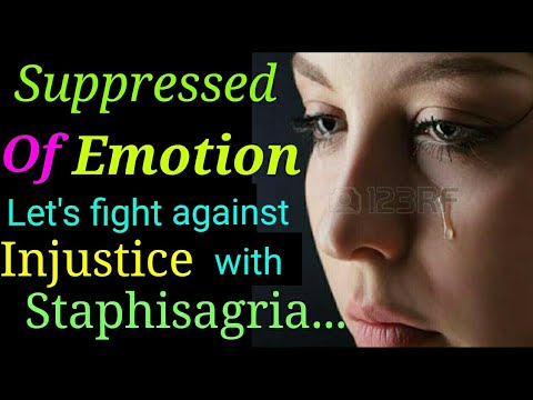 Staphysagria homeopathic remedy for Suppressed of emotion, weak and torched woman,Psoriasis,Tumour.
