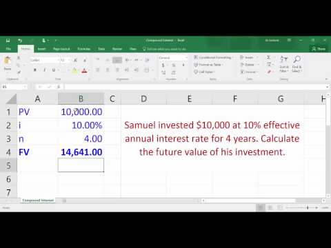 Compound Interest   Calculating Future Value using Excel