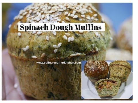 Spinach Dough bread Muffins with  Vegetables