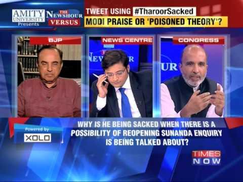 The Newshour Versus: Shashi Tharoor Sacked - Subramanian Swamy vs Sanjay Jha (13th Oct 2014)