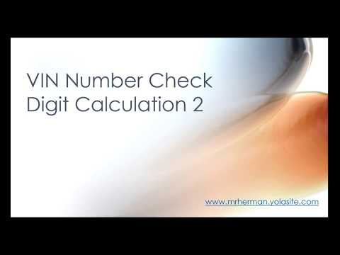 VIN number check digit 2