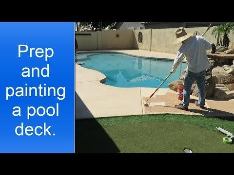 Painting pool deck.
