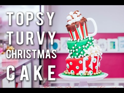 How To Make A TOPSY TURVY CHRISTMAS CAKE! Festive Funfetti With CHOCOLATE Buttercream & Ganache!