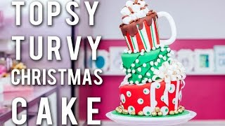 How To Make A TOPSY TURVY CHRISTMAS CAKE! Festive Funfetti With CHOCOLATE Buttercream & Ganache!