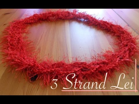 Red Crochet Lei Braided with Three Strands - Video Tutorial (left-handed)