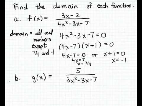 Finding a domain using the Quadratic Formula