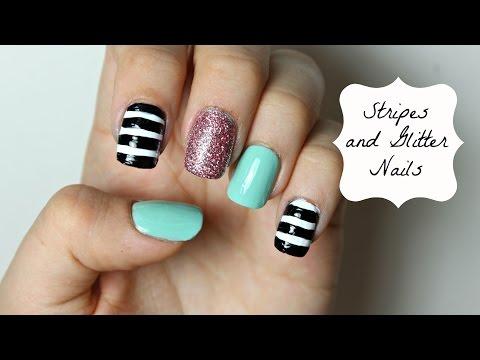 Funky Stripes and Glitter Nails   Viki Nailbeauty