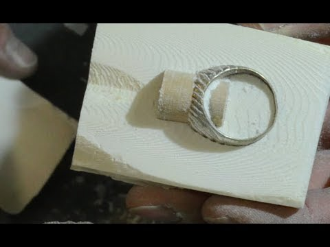 Silver ring made with fusion in cuttlebone mold