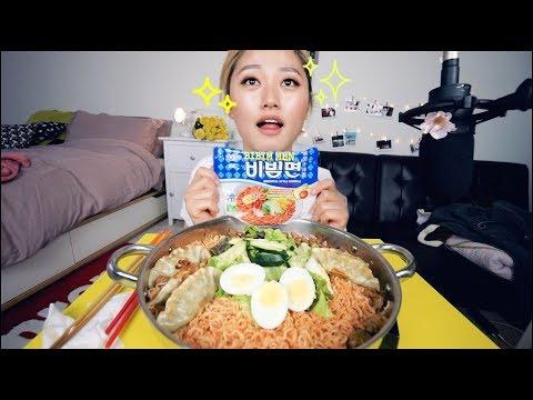 Inhaling the noodles🍜🍜! Cold Spicy Bibimyun NOodles Mukbang~ ft. dumpling | KEEMI★