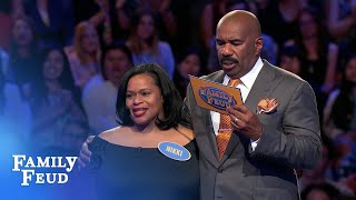 Nikki needs 32 points on her final answer | Family Feud