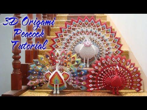How To Make 3D Origami Peacock V1 | cómo hacer el pavo real V1 del origami 3d