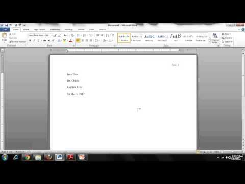 Setting up a Document in MLA format in Word 2010