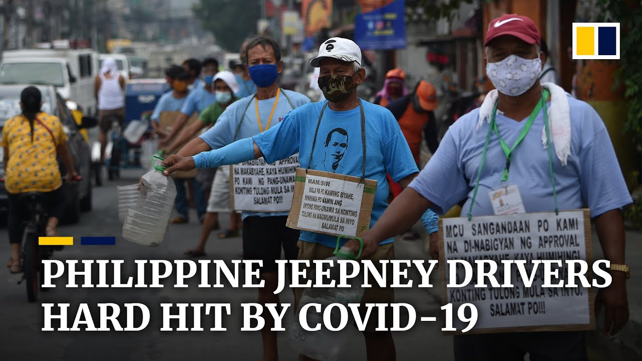 Coronavirus pandemic forcing jeepney drivers in the Philippines off the road to beg on the streets
