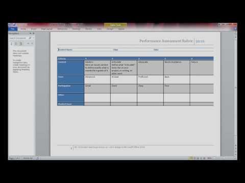 Rubric Design using Microsoft Word 2010 pt.1 of 4