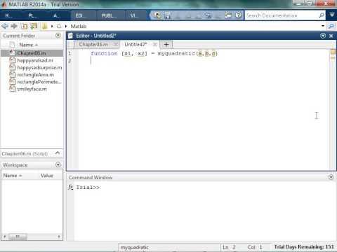 Creating a Quadratic Equation in Matlab